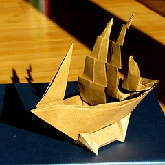#origami ship  Patricia Crowford sailed away.  She left us many beautiful models.