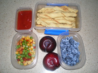 Pizza Shop Breadsticks; Sneaky Momma's Tomato Sauce; frozen beans and vegetables; blueberries; plums