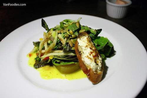 Green Apple and Brulee Goat Cheese Salad