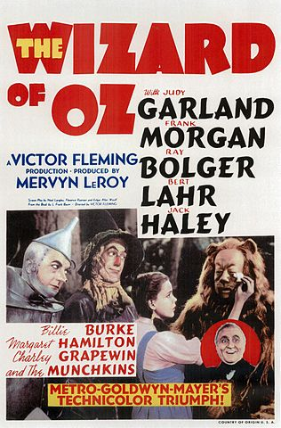 """WIZARD OF OZ ORIGINAL POSTER 1939"" by MGM - http://daw.dyndns.org/images/movies/posters/wizard%20of%20oz.jpgalt source: [1]. Licensed under Public Domain via Wikimedia Commons."
