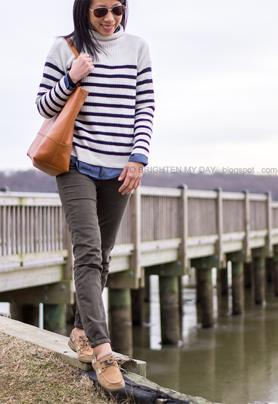 striped sweater, chambray shirt, olive pants, cognac brown tote bag