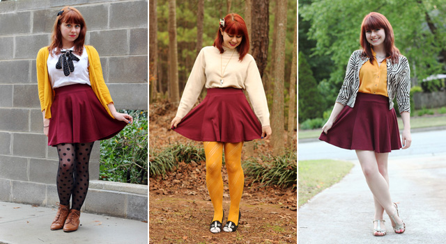 A Maroon Skater Skirt Paired With Mustard Yellow Pieces