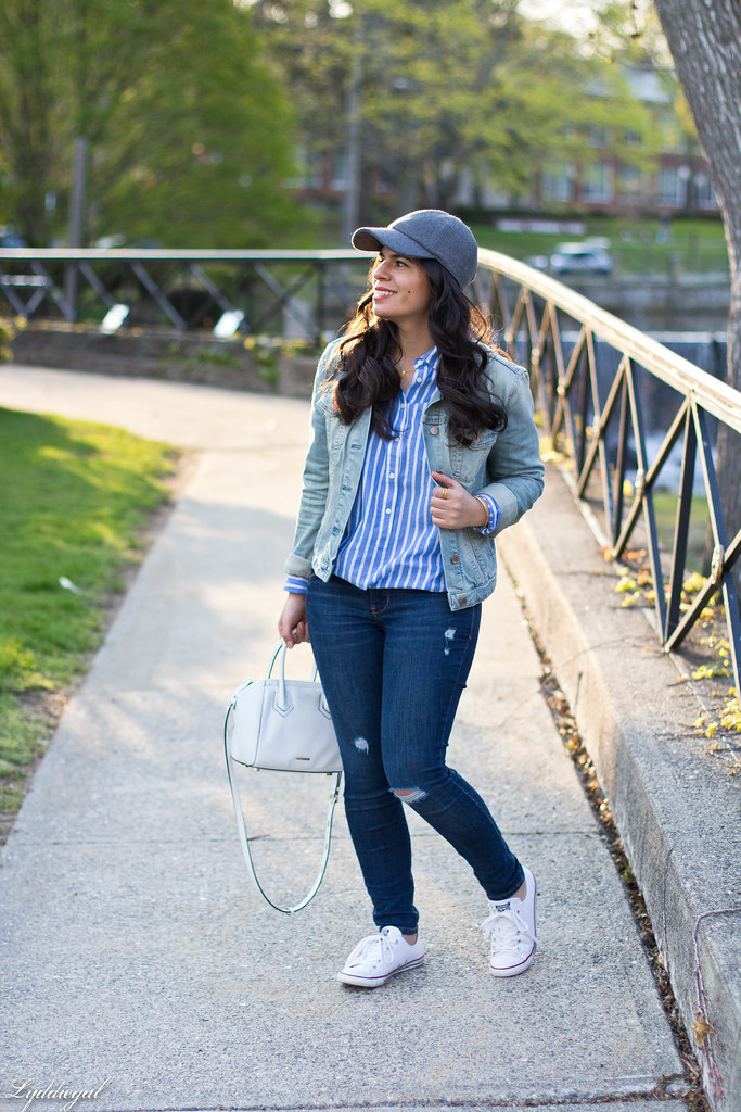 denim jacket, striped shirt, converse, ballcap-1.jpg