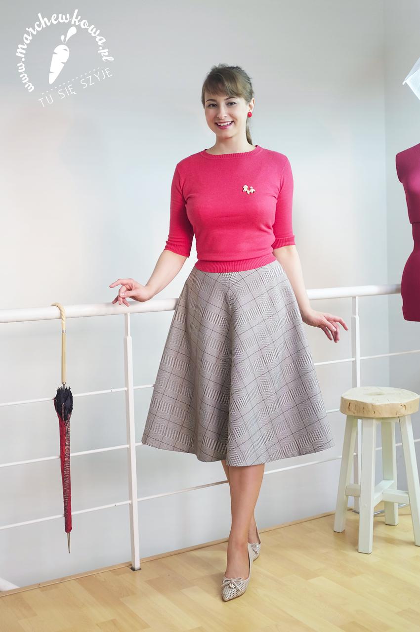 marchewkowa, tu się szyje, blog, krawiectwo, retro, vintage, 50s, 60s, half-circle skirt, sewing, Glencheck