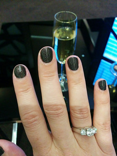 my free manicure in the Etihad First Class lounge - color is 'my private jet'