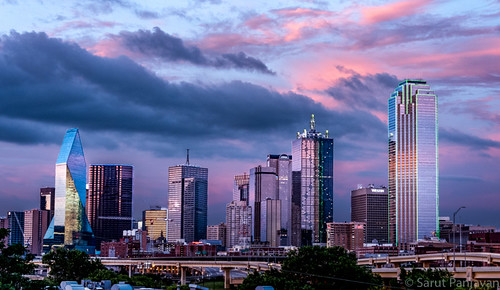 sunset red sky urban bronze clouds dallas downtown