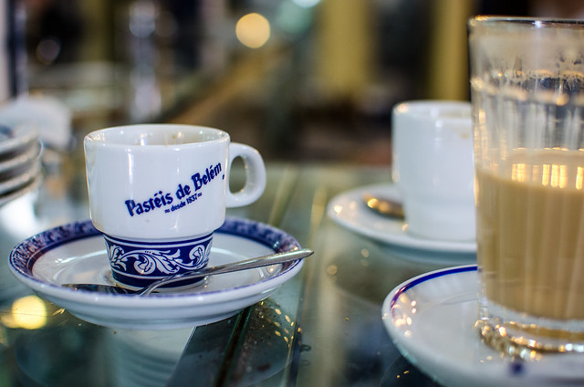A coffee pairs perfectly with a pastry at Lisbon's Pastéis de Belém.