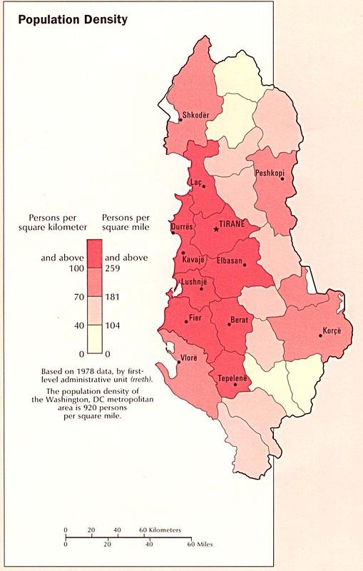 Population Density Map of Albania