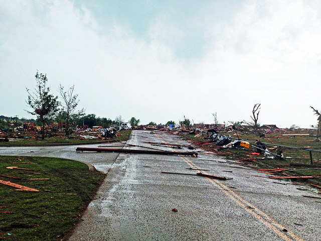 Damage from the tornado in North Moore, Oklahoma