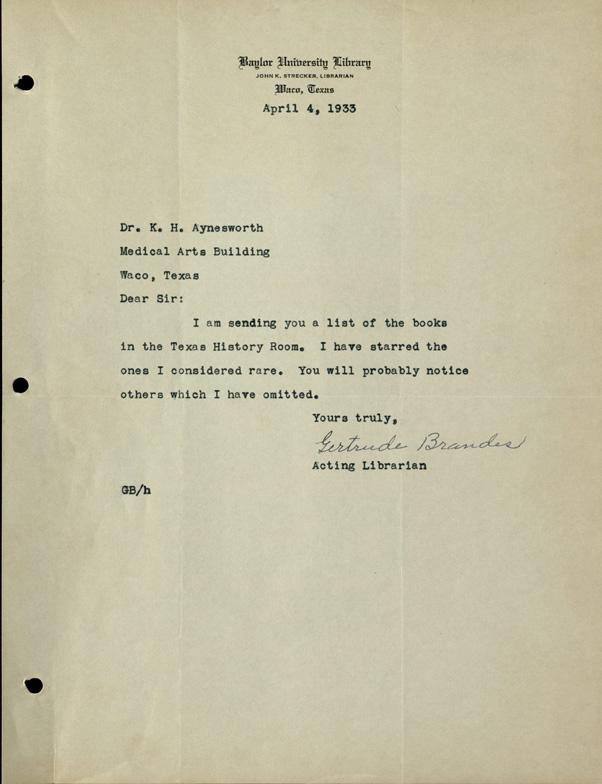 Brandes-Aynesworth correspondence, 1933