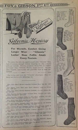 Gibsonia hosiery 52/23/3 #fp13 #stitches by Collingwood Historical Society