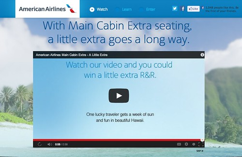 "Screenshot American Airlines ""A Little Extra"" Sweepstakes"