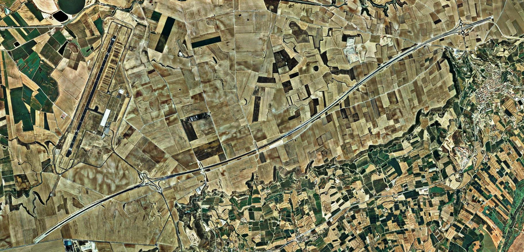 después, urbanismo, foto aérea,desastre, urbanístico, planeamiento, urbano, construcción, autopista, a ningún sitio, Lleida, Lérida, Alguaire, Almenar, A-14