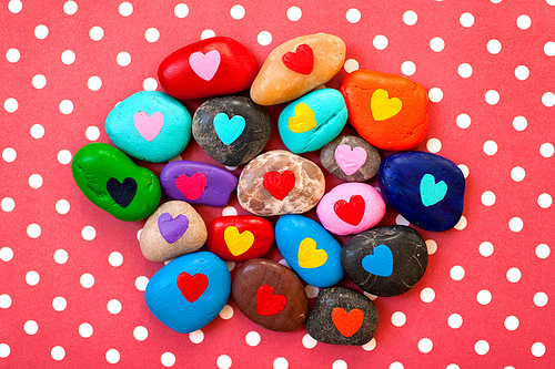 rock painting, hearts