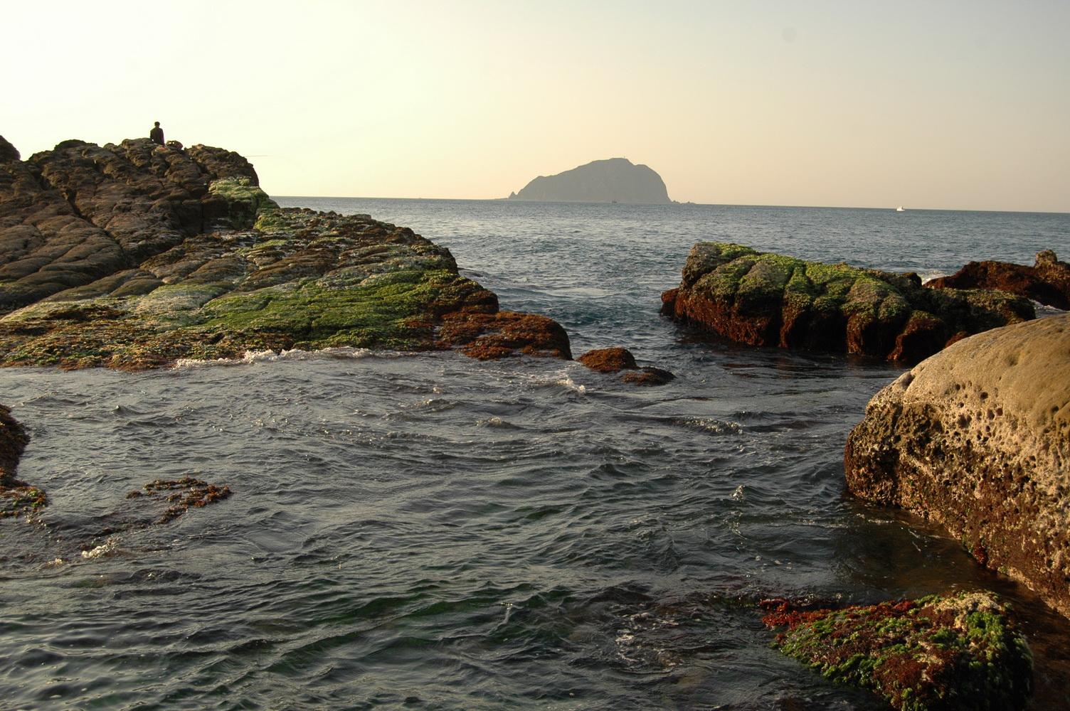 低潮帶的礁岩上,著生有藍藍綠綠、萬紫千紅的藻類。圖片來源:方雅芬