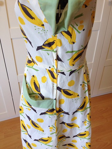 yellow bird dress side zip