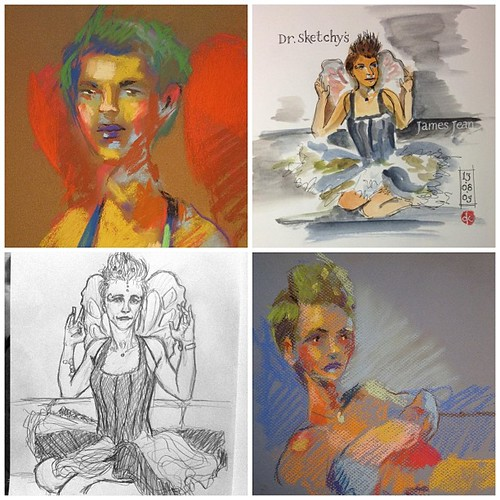 Some of the amazing sketches of me from last night. James Jean was the artist inspiration. #drsketchysantiartschool #doodles #artist #art #reno