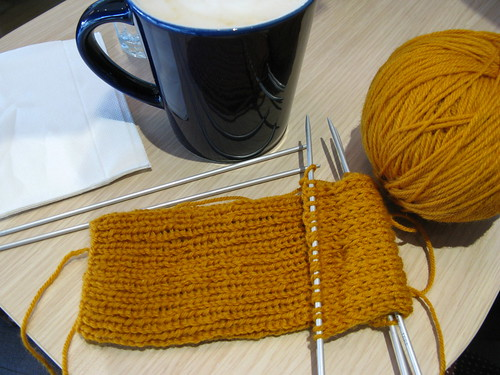Knitting in a cafe