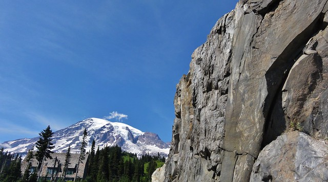 An interesting bit of volcanic rock that is probably andesite, Mount Rainier, and Paradise Lodge.