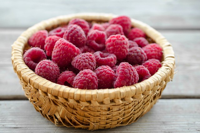 Fresh picked raspberries