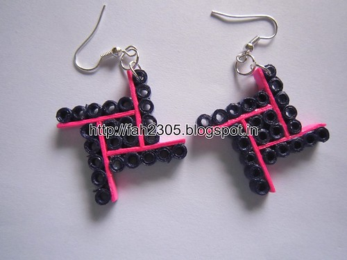 Handmade Jewelry - Paper Quilling Four Square Earrings (1) by fah2305