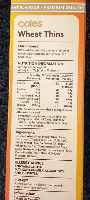 Wheat Thins (Coles brand) nutritional info