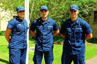 (left to right) Petty Officer 3rd Class Britany Mckibben, Petty Officer 1st Class Tadd Martin and Petty Officer 3rd Class Will Kahms, taken at Coast Guard Marine Safety Unit Morgan City, La., Sept. 6, 2013. Coast Guardsmen such as Mckibben, Khams and Martin often work in a dynamic behind-the-scene roles that play an important part in the Coast Guard mission of prevention. (U.S. Coast Guard photo by Petty Officer 3rd Class Carlos Vega)