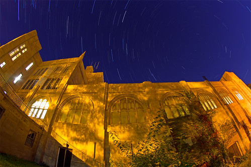 North Star and Star Trails over Brighton High School in the Morning, Boston by Greg DuBois Photo