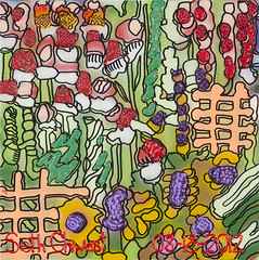 The Abstract of Garden with Flowers and Outdoor Backyard and Other Plants (24 x 24 spray paint and acrylic on canvas)
