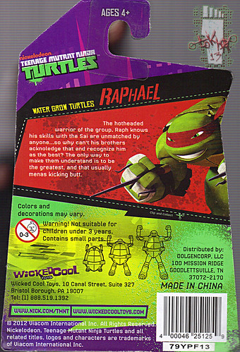 WICKED COOL TOYS :: Nickelodeon TEENAGE MUTANT NINJA TURTLES; 'WATER GROW TURTLES' - RAPHAEL iii // ..card backer  (( 2013 ))