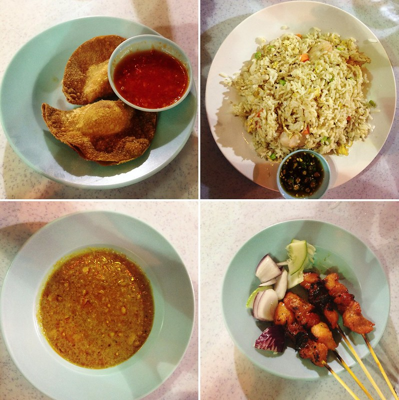 Fried rice, wantan, chicken w peanut dip