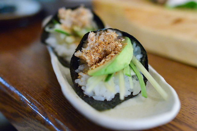 Blue Crab Hand Roll cucumber, avocado, sesame