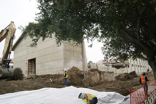 Old Millikan Hall is demolished to make room for the new Millikan Hall in November 2013
