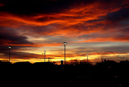 sky sun clouds sunrise scotland glasgow eastend