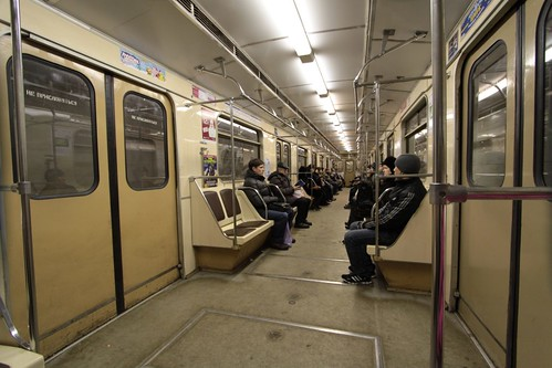 Plenty of empty seats on this Moscow Metro train