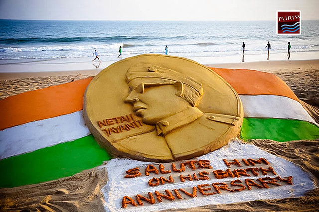 Sri Subhash Chandra Bose in a golden sandy coin prepared by Manas Kumar Sahoo at Puri Beach