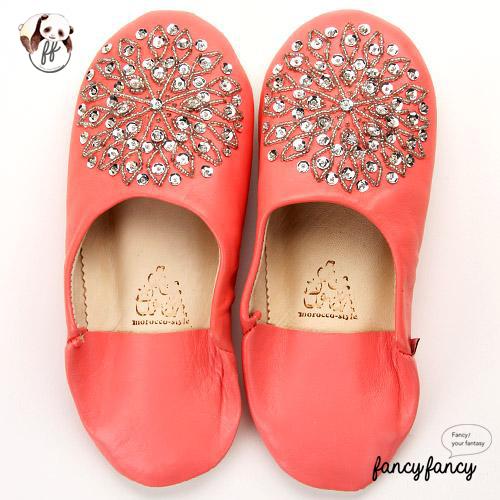 82.亮銀刺繡Blingbling皮拖鞋(摩洛哥製)-粉紅色
