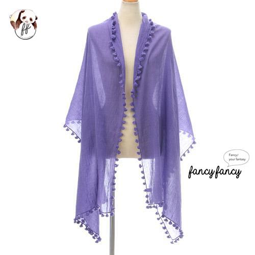 09.春意盎然流蘇球球圍巾(披肩)-紫色