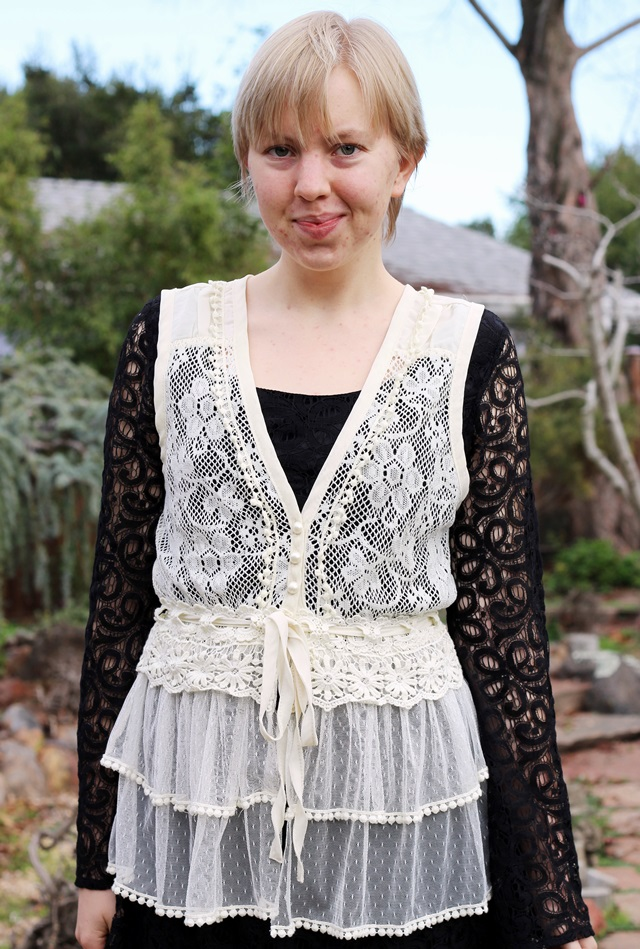 white lace over black lace, garden setting