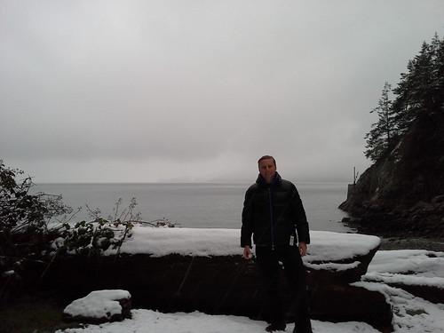 Snow on the beach (Feb. 23, 2014)