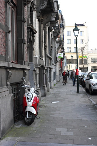 Red Scooter on the streets of Brussels
