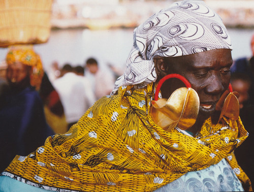 Gold earring worn by market woman in Djenne, Mali