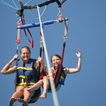 Julie and Abbie Parasailing