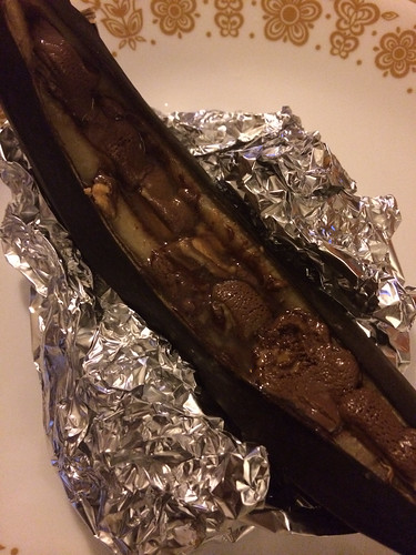Baked banana with chocolate peanut butter candies