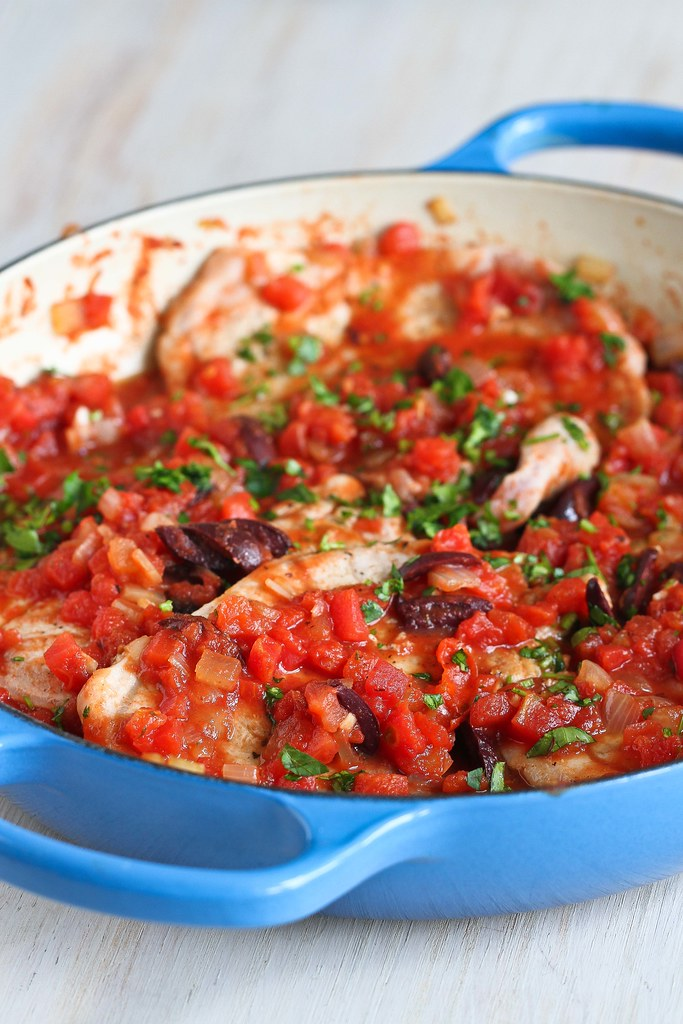 Easy Braised Pork Chop Recipe with Tomatoes & Olives | cookincanuck.com #healthy #recipe