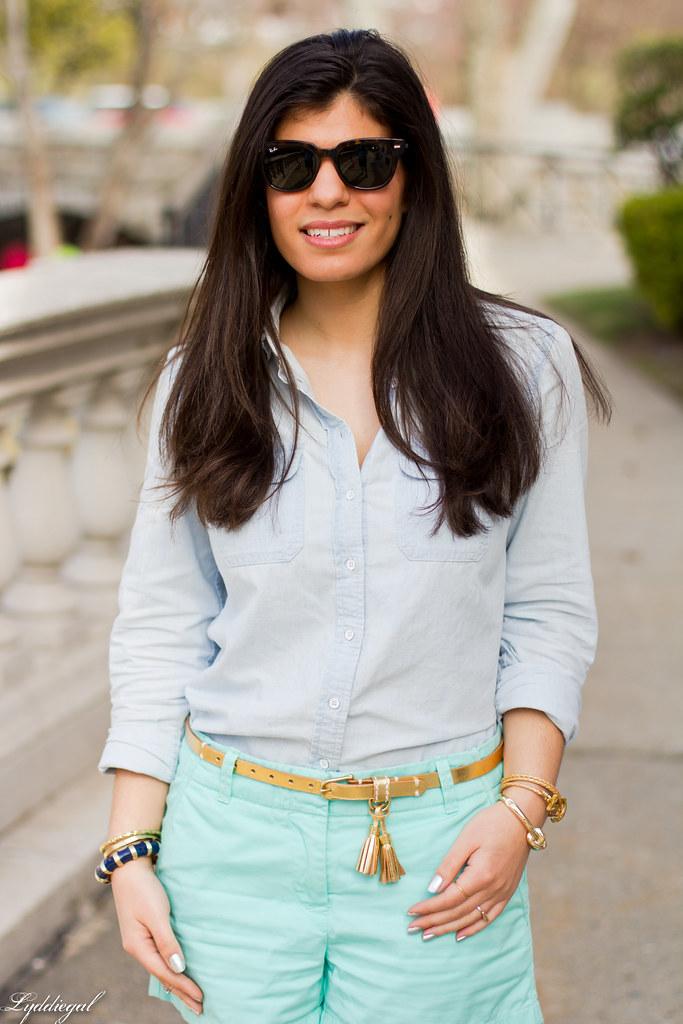 chambray shirt, turquoise shorts-5.jpg