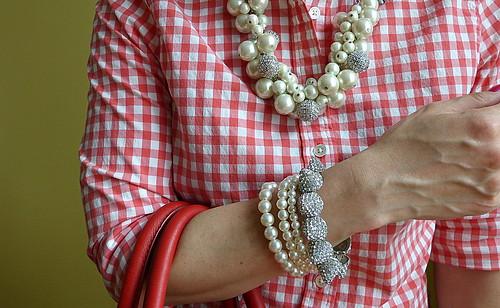 gingham + pearls