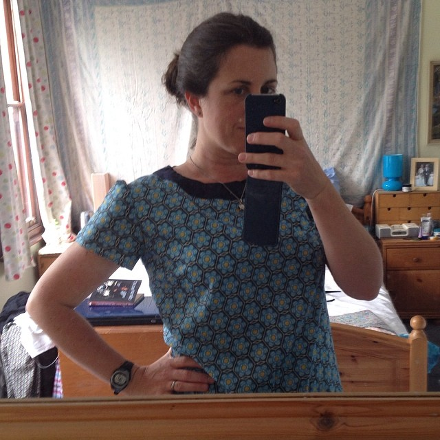 Meet my new favourite top. I finally used this beautiful fabric. #sewing #top #handmade #voile #productivedayoff