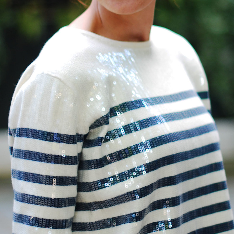French style sequinned stripe sailor top