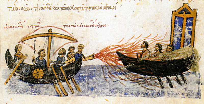 Depiction of Greek fire from Madrid Skylitzes by John Skylitzes